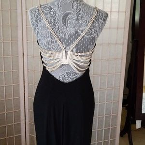 Long black rhinestone dress
